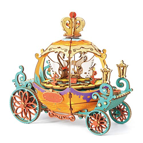 RoWood DIY Music Box Kits - 3D Wooden Puzzle Gift for Adults & Teens - Pumpkin Carriage