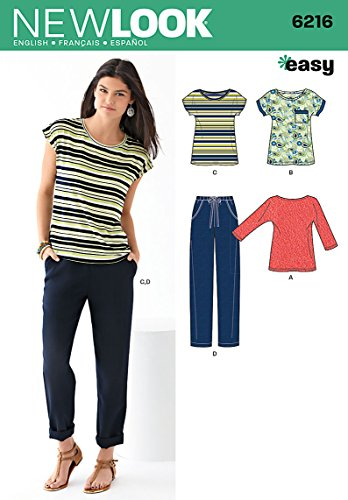 Simplicity New Look Easy Pattern 6216 Misses Knit Tops and Pants Sizes 8-10-12-14-16-18