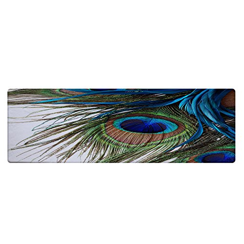 "QiyI Bath Rugs Bathroom Non Slip Super Soft Absorbent Memory Foam Rug Machine Washable Carpet Floor Mats for Tub Office Door Mat Kitchen Dining Living Hallway Area Rugs 16"" x 48"" - Peacock Feather"