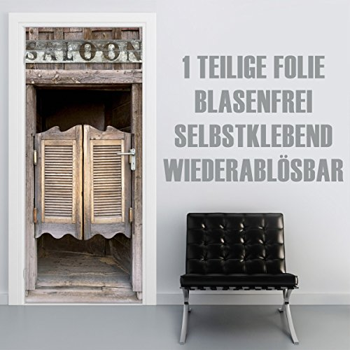 XXL-Tapeten Türtapete selbstklebend TürPoster Saloon im Format 90x210cm - Türfolie Klebefolie von Trendwände