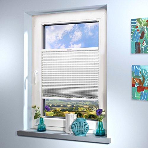 SUNWORLD Plissee nach Maß, deutsche Wertarbeit, Design: Stripe, alle Größen (Farbe: Weiß, Höhe: 151-160cm, Breite: 101-110cm)