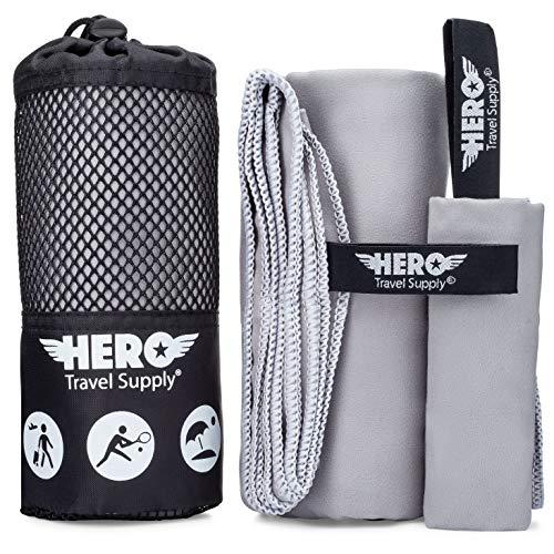 "Hero Microfiber Towel for Travel, Camping, Backpacking, Beach, Gym – 24"" x 48"" (Includes Bonus Washcloth)"