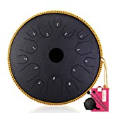 HXCH Piattino in Acciaio Tongue Drum-14 Notes 14 Pollici Percussione Strumento Pan Drum con Borsa da Viaggio Imbottita, Maglia, Adesivi per Appuntamenti, per per Bambini Obsidian Pattern
