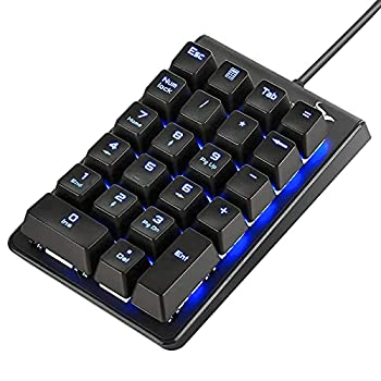 Number Pad ROTTAY Mechanical USB Wired Numeric Keypad with Blue LED Backlit 22 Key Numpad for Laptop Desktop Computer PC Black  Blue switches