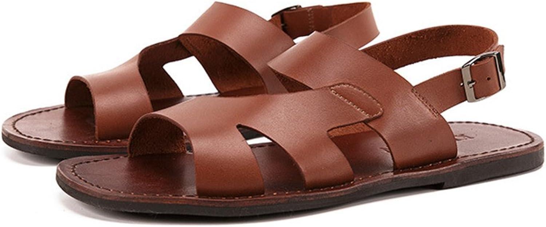 ZPJSZ Men Retro Non-Slip Sandals Outdoor Casual Beach England Slip,Brown-38