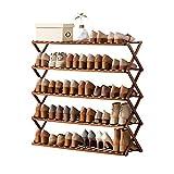 Haioo Estante Plegable de Zapatos, Múltiples Niveles Zapatero Organizador Estantería Compacto de Bambú sin Instalación para Hogar, Jardín y Patio (Madera Oscura, 100 cm)