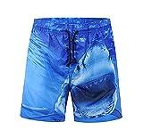 WHLDK La Personnalité De Requin Maillot Timbre Mode 3D Taille De Pantalon Lâche Pantalons Masculin Occasionnels Plage Map Color M Shorts