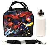 Disney Big Hero 6 Lunch Box Bag with Shoulder Strap and Water Bottle Featuring Hiro, Baymax Mech, Wasabi, Honey Lemon, Go Go, and Fred by 5StarService