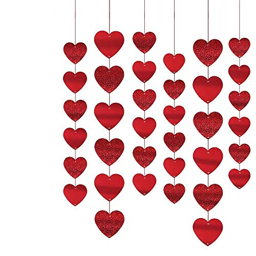 SYWAN Decorazioni Pendenti Cuore 15 Pezzi, Ghirlande Appese Appendere a Una Finestra Decorazione Porta Soffitto per Festa Compleanno Matrimonio San Valentino - Rosso