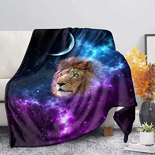 ZGZZD Sofa Throw Blankets,Winter Soft Warm 3D Print Sofa Throw Blanket Novelly Chic Blue Purple Starry Lion Animal Printed King Size Fluffy Blanket For Bed Couch Camping Travel,110X140Cm