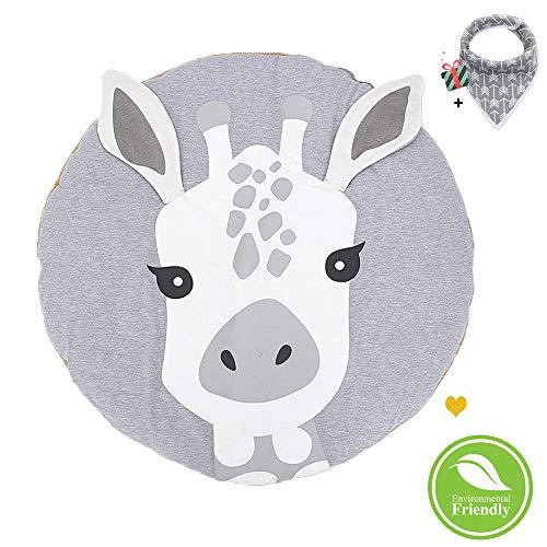 Morbuy Krabbeldecke für Baby Rund, Weiche Baumwolle Kinderteppich Gepolstert Kinder Schlafbereich Teppich Kuschelige Spielmatte Dekoration für Kinderzimmer Crawl Spielmatte (Giraffe)