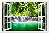 Ventana 3D cascada río laker bosque paisaje natural etiqueta de la pared decoración del hogar sala de estar dormitorio paisaje foto arte calcomanía papel pintado mural cartel