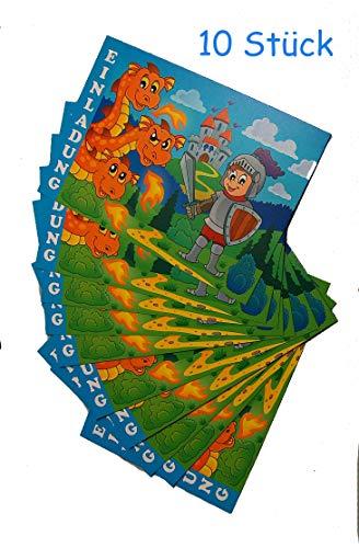 Lila Lotte 10x Einladung Ritter | Einladungskarten für die Ritterparty, mit Drachen, Kindergeburtstag, mit Vordruck