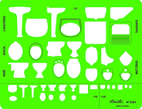 Gabarito Desetec para Sanitários com Perfis Visto de Frente de Cima e de Lado, em 3 Escalas, 4383, Trident, Verde, 19.5 x 15 cm
