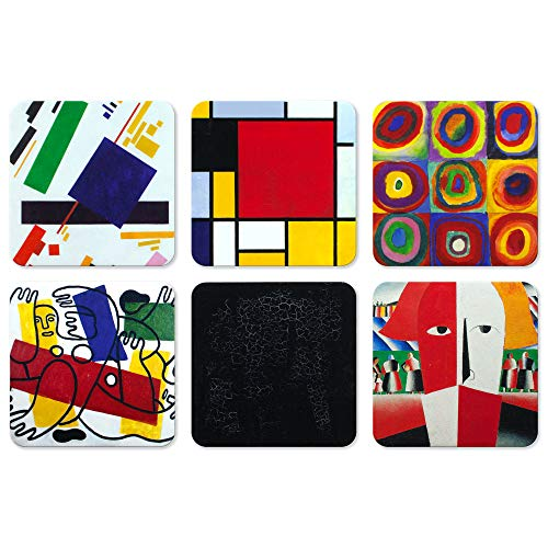 Coasters for Drinks, 6 Pcs Cork Back Coasters with Funny Prints, Art Series Bar/Table Coasters, Gifts for Hostess, Birthday/Christmas/Housewarming/Greeting Present for Drink Lovers (Abstract-2)