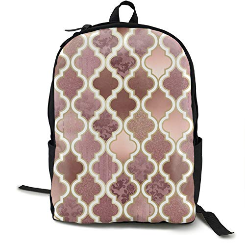 Lightweight Backpack Rucksack Foldable Ultralight Packable Backpack,Rosegold Pink And Copper Moroccan Tile Unisex Durable Handy Daypack for Travel & Outdoor Sports