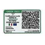 GREEN PASS Stampato e plastificato formato Tessera Certificato di Vaccinazione QR Code Covid 19 Vaccino Virus Biglietto da visita