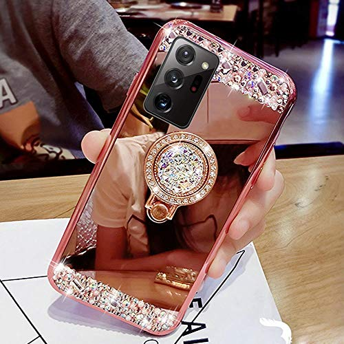 PHEZEN Glitter Case for Samsung Galaxy S20 FE 5G Mirror Case,Bling Glitter Sparkle Diamond Rhinestone Mirror Soft TPU Silicone Case Cover with Ring Kickstand Shockproof Protective Case,Rose Gold