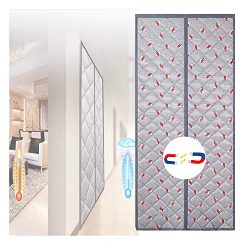 LSXIAO Wärmeschutzvorhang Klimaanlage Heizungsraum Winter Warm Abgeschirmte Tür Automatischer Schließer Wohnzimmer-Eingangstürabdeckung, 44 Größen (Color : Gray, Size : 75×200cm)