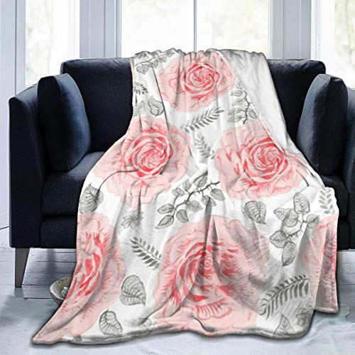 ARRISUM Blush Pink Floral Bouquets On The White Rose Flowers Exotic Blanket Super Soft Flannel for Bed Sofa Lightweight Blanket Throw Size for Kids Adults All Season 60X50Inches
