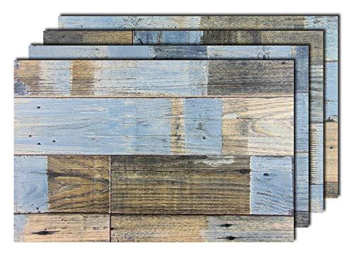 4er Premium Tischsets Holzoptik Shabby Braun-Blau   abwaschbar   PVC-CV   je ca. 43,5x28,5cm   je ca. 2,8mm   je ca. 200g   Gastro-Qualität   bazaaro