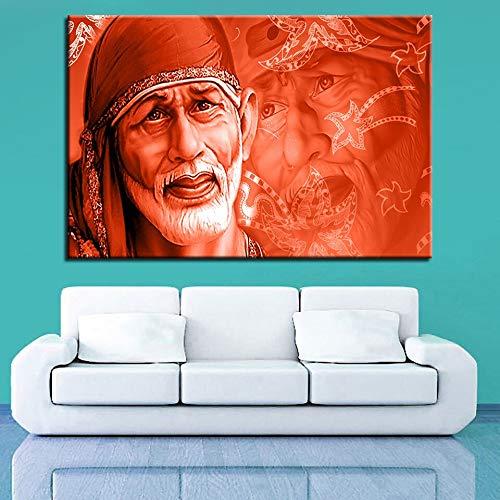 zhuziji Sin marcoMural, Utilizado para el Arte de la Pared de la Sala de Estar Imagen de Zhang Sai Baba Indian Lord God Abstract Poster Home De50x75cm