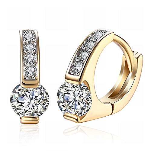 JY K-Gold Zircon Earrings Round Diamond-Studded Romantic Earrings Ear Clips Women's Champagne Gold/Stainless Steel/Hypoallergenic/Silver Sparkle/Diamond/Small and Delicate Novelty j