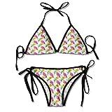 Conjunto de Bikini Sujetador Acolchado con Motivos de Naturaleza Ornamental