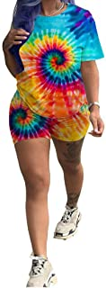Womens Short Set 2 Piece Outfits - Tie Dye Stripe Rainbow Floral Print T-Shirts + Bodycon Biker Shorts Jumpsuits Rompers