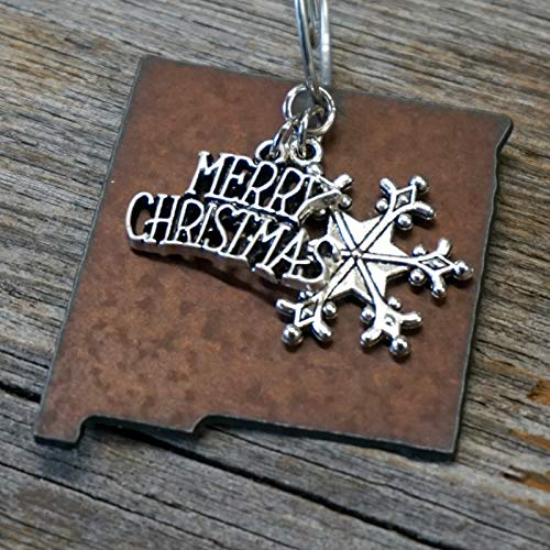 """NEW MEXICO Christmas Ornament 2"""" inch/Gift Boxed Rustic Metal Ornament/Handmade in the USA by Duct Tape and Denim"""