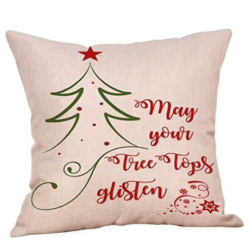 Huazi2 Merry Christmas Pillow Cases, Cotton Linen Sofa Cushion Cover Festive Home Decor