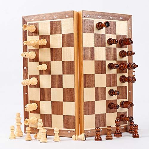 MIAOXIAO Magnetisches Hölzernes Schachklappbrett Schachbrett Holzschachspiel Anfängerschachspiel Für Kinder Und Erwachsene