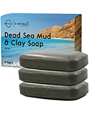 O Naturals Acne Treatment Dead Sea Mud & Green Clay Deep-Cleansing Bar Soap. For Oily Face, Scalp, Hair & Body. Pore Cleanser Eczema Psoriasis Blackhead Skin Detox Exfoliating Dead Skin Cells 3Pc 113g