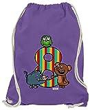 Hariz - Bolsa de deporte para niños, diseño de osito del bosque, 8 cumpleaños, morado (Morado) - AchterGeburtstag49-WM110-14-1