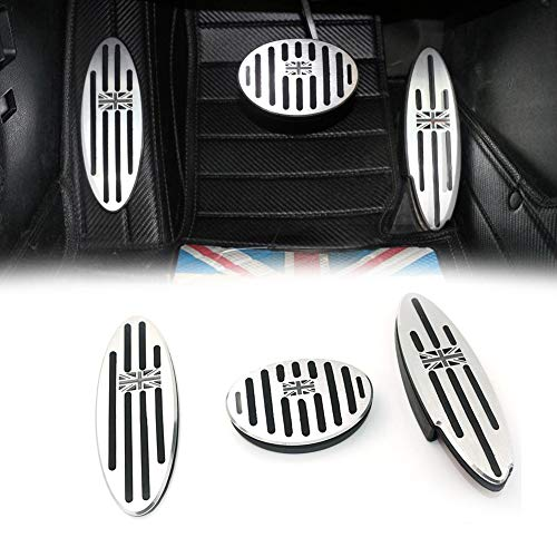 GTINTHEBOX Black/Gray Union Jack AT Auto Aluminum Pedal Cover, Anti-slip Pedals No Drill Gas Brake Pedal and Footrest Pedal Pad For Mini Cooper Countryman, Clubman, Roadster, Hatch, Paceman, 2010-2018
