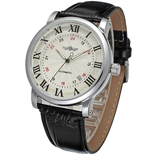 Männliche Uhr, 3 Farben Moderne vollautomatische mechanische Bewegung Armbanduhr mit haltbarem PU Leder Band(White Dial+Black Number+Black Strap)