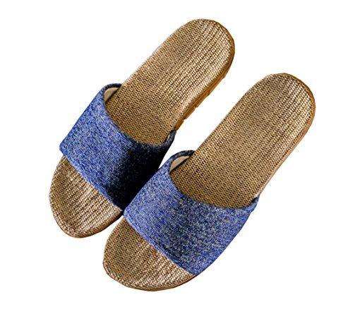 [SHPEROWW] レディース メンズ ルームシューズ 夏春 スリッパ 室内履き 静音で軽量 麻 可愛い 滑り止め 来客用 部屋用 ギフト ブルー 25.0-25.5cm