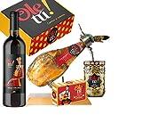 Lote Cesta Surtido Paletilla Ibérica y deliciosos productos Gourmet Ole tú. Regalos Gourmet 100% Sabor España.