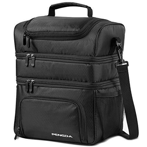 Kühltasche Picknicktasche 18L Isolierte Lunchtasche-Thermotasche Auslaufsicher Wiederverwendbares, großes Picknicktasche mit verstellbarem Gurt, Lunchpaket mit drei Decks für Speisen und Getränke