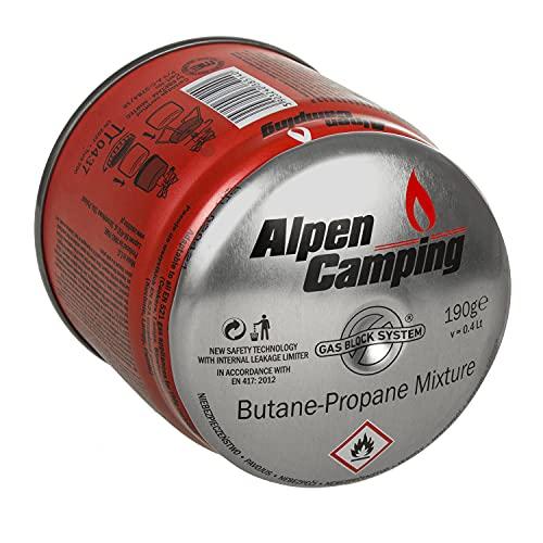 Alpen Camping Cartucho de Gas 400 ml con Limitador de Fugas Interno para Estufas, Lámparas, Sopletes (1x Cartucho de Gas 400 ml)