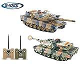 s-idee 01975 2 x Battle Panzer German Leopard II mit integriertem Infrarot Kampfsystem 2.4 Ghz RC R/C Ferngesteuerter Panzer, Tank, Kettenfahrzeug 1:24, Neu