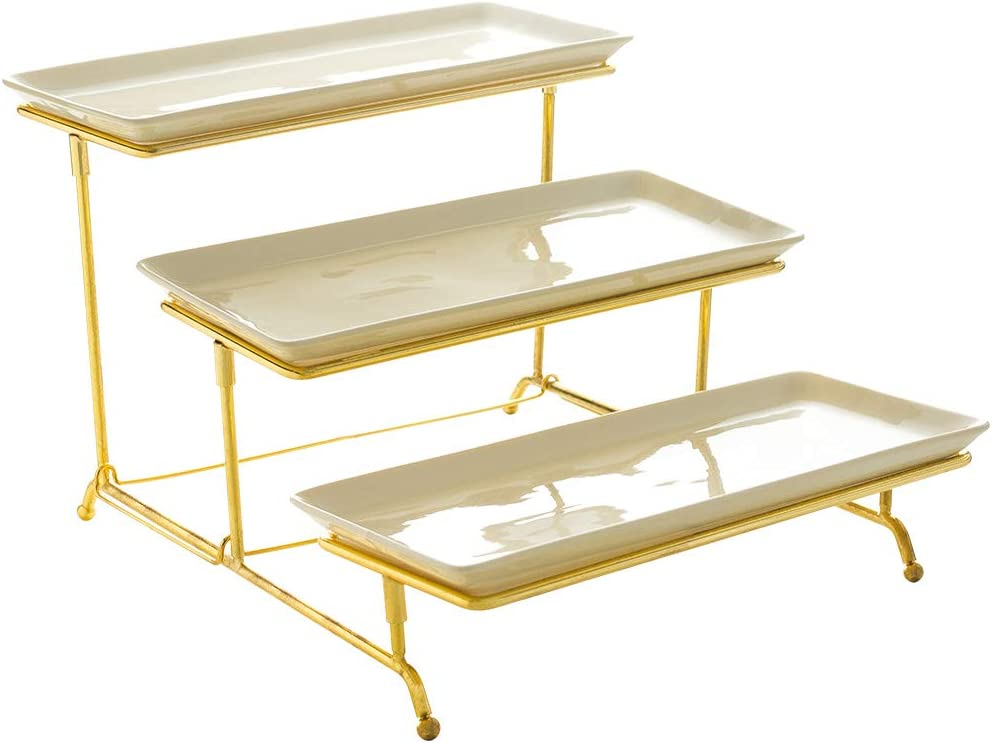 YOLIFE 3 Tiered Serving Stand with Porcelain Trays Food Server Display Rack for Parties Cake Fruit Serving