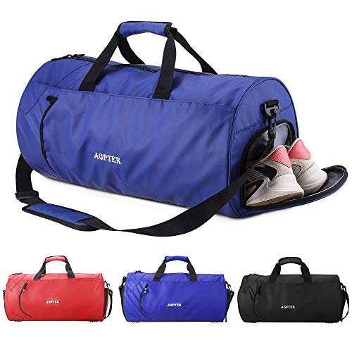 AGPTEK Bolsa Deporte y Viaje para Mujer y Hombre con Compartimento de Zapatos y Bolsillo Impermeable,Bolsa de Playa de Multibolsos,Multiuso como Mochila Plegable para Deporte,Nadar,Vacaciones,Azul