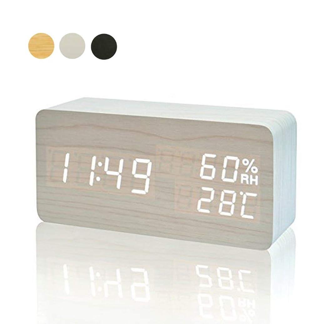 認証下に向けます頂点目覚まし時計 置き時計 デジタル 大きなLED数字表示 温度湿度計 カレンダー アラーム 振動/音感センサー 輝度調節 設定記憶 USB給電/電池 木製 おしゃれ 卓上 新築祝い 贈り物 (ホワイト)
