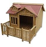 Wiltec XL Hundehütte Hundehaus Holz Balkon...