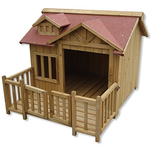 Cuccia e capanna per cani di lusso XL Terrazza in legno e porta a lamelle Legno massiccio
