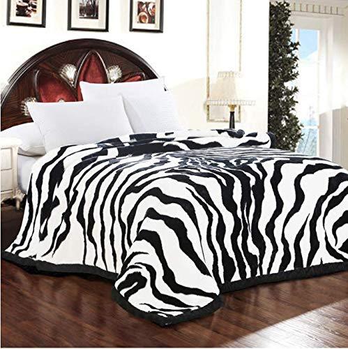 HBYMV Super Suave y esponjosa cálida Manta de visón Raschel Zebra Skin Stripes Print Queen Size Doble Capa Cama Doble Mantas de Invierno 200 * 230cm