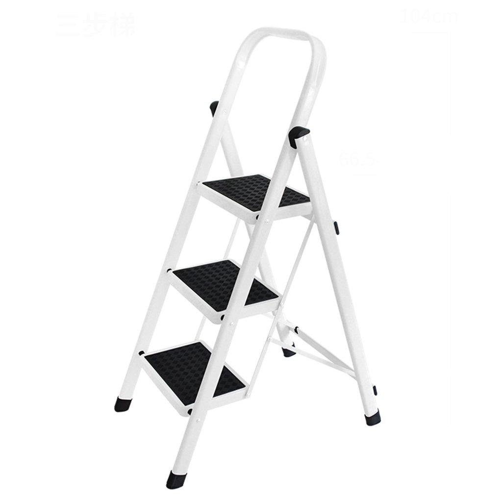 SjYsXm-Step ladder Escaleras Plegables Blancas - Escalera de Escalada de Alto Escalón de Aluminio de Alta Calidad Escalera Pequeña de 3 escalones con barandilla: Amazon.es: Hogar