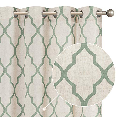 "jinchan Moroccan Tile Print Curtains for Living Room Quatrefoil Flax Linen Blend Textured Geometry Lattice Grommet Window Treatment Set for Bedroom 50"" W x 90"" L 2 Panels Sage"