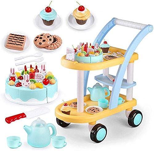 Little Toys Kinderspielzeug Simulation Spielzeug Spiel Küche mädchen Trolley Geburtstag Cut Kuchen Spielzeug Simulation Set Intellektuelle Entwicklung Spielzeug (Farbe   Rosa)